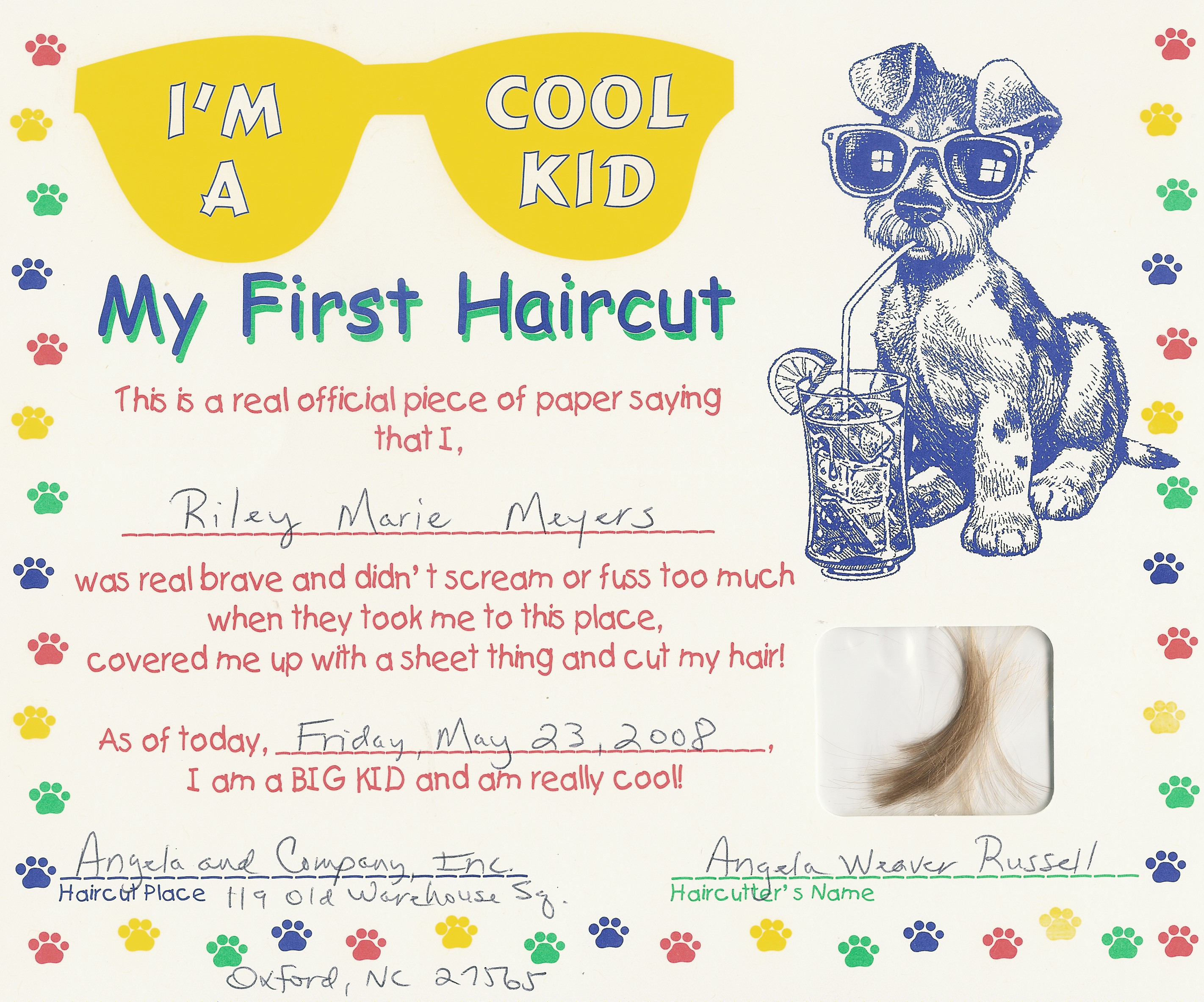 Photos first haircut certificate free printable joke certificates